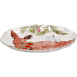 Kameninový vánoční tác Casafina Deer Friends, 32 x 22 cm