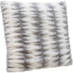 Bílo-šedý polštář InArt Furry, 60x60cm