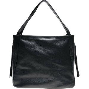 Černá kožená kabelka se 3 vnitřními kapsami Carla Ferreri
