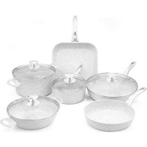 6dílný set nádobí s poklicemi a úchyty ve stříbrné barvě Bisetti Stonewhite Federica
