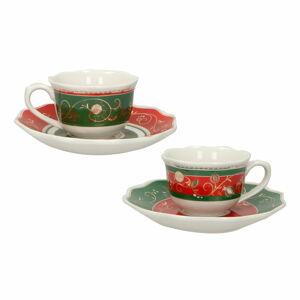 Sada 2 porcelánových hrnků s podšálky Brandani Tempo di Festa Set