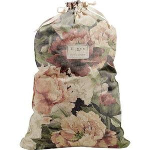 Látkový vak na prádlo s příměsí lnu Linen Couture Bag Spring Flowers, výška 75 cm