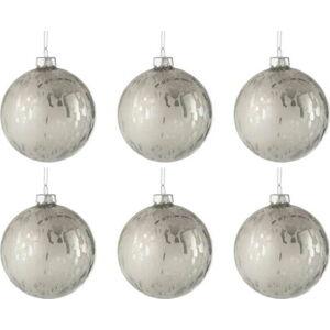 Sada 6 bílých skleněných vánočních ozdob J-Line Baub,ø8cm