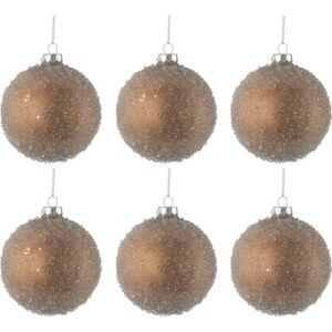 Sada 6 skleněných vánočních ozdob ve zlaté barvě J-Line Bauble,ø8cm